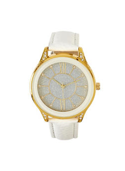 Glitter Face Faux Leather Watch   3140071435475 - 3140071435475