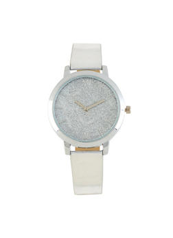 Glitter Face Faux Leather Strap Watch - 3140071436257