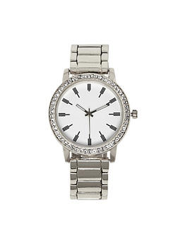 Rhinestone Bezel Metallic Link Watch - 3140071436314