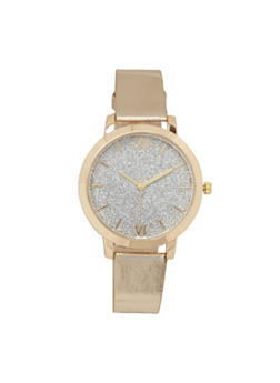 Faux Leather Strap Glitter Watch - GOLD - 3140071436692