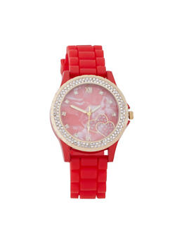 Marble Face Rubber Strap Watch - RED - 3140071437017