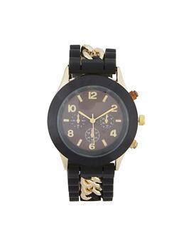 Chain Detail Rubber Strap Watch - 3140071437292