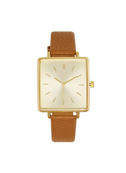Square Face Faux Leather Watch - 3140071437610