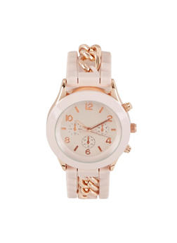 Metallic Chain Rubber Strap Watch - PINK - 3140071437877