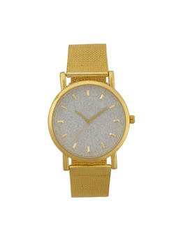 Glitter Metallic Mesh Watch - GOLD - 3140071438117