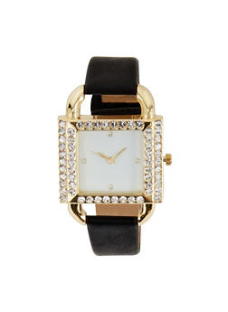 Rhinestone Square Faux Leather Watch | 3140071438365 - 3140071438365
