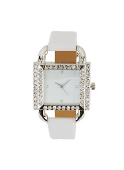 Rhinestone Square Faux Leather Watch   3140071438365 - 3140071438365