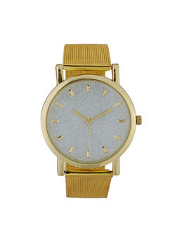 Glitter Metallic Mesh Strap Watch - 3140071438489