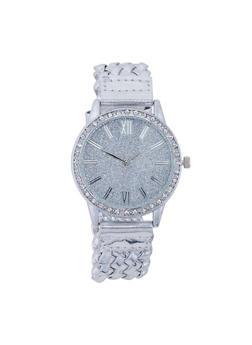 Glitter Rhinestone Woven Strap Watch - 3140071438704