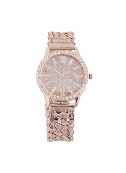 Glitter Rhinestone Woven Strap Watch - ROSE - 3140071438704