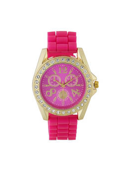 Metallic Rhinestone Bezel Watch - 3140071438845