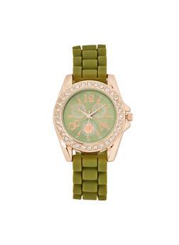 Silicone Strap Rhinestone Watch - 3140071438887