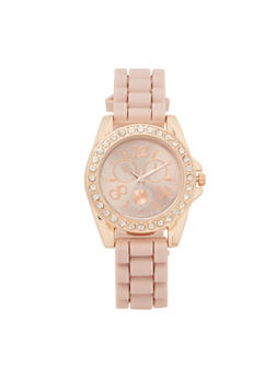 Silicone Strap Rhinestone Watch - BLUSH - 3140071438887