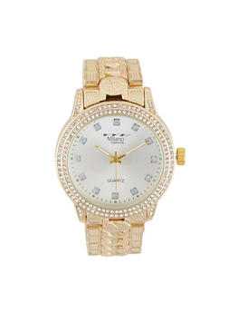 Chain Detail Rhinestone Watch - 3140072185051