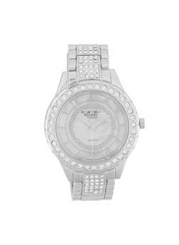 Rhinestone Detail Metallic Watch - 3140072185761