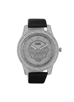Rhinestone Faux Leather Strap Watch - 3140072187251