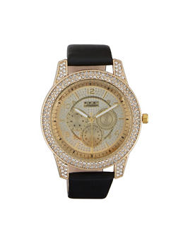 Rhinestone Faux Leather Strap Watch - 3140072187251