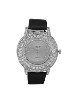 Rhinestone Bezel Faux Leather Strap Watch - 3140072187313