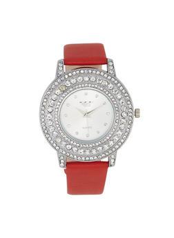 Rhinestone Bezel Faux Leather Strap Watch - 3140072187313
