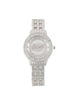 Rhinestone Studded Watch - SILVER - 3140072692003