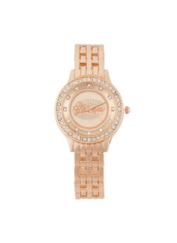 Rhinestone Studded Watch - ROSE - 3140072692003