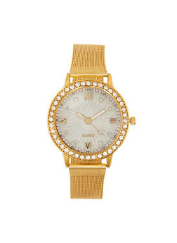Rhinestone Bezel Metallic Mesh Watch | 3140072692721 - 3140072692721