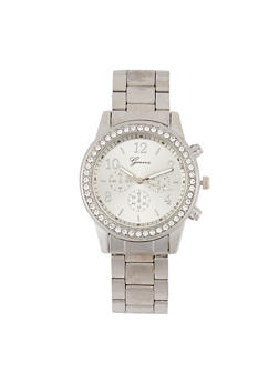 Rhinestone Bezel Metallic Watch - 3140072693647