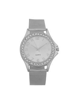 Rhinestone Bezel Metallic Strap Watch - 3140072696722