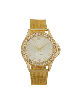 Rhinestone Bezel Metallic Strap Watch - GOLD - 3140072696722
