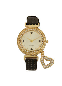 Heart Charm Faux Leather Strap Watch - 3140072696932