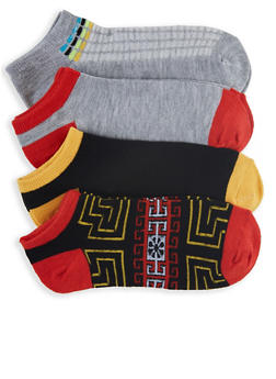 4 Pack Assorted Tribal Print Ankle Socks - 3143041451219