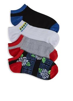4 Assorted Floral Aztec Ankle Socks - 3143041451420