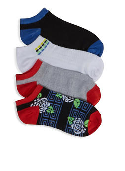 Assorted 4 Floral Aztec Ankle Socks - 3143041451421