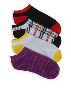 4 Assorted Plaid Ankle Socks - 3143041451719