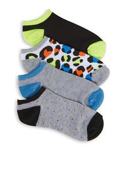 Set of 4 Printed and Solid Socks - 3143041451819