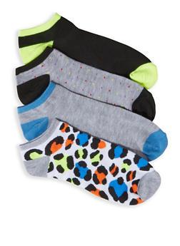 4 Assorted Animal Print Ankle Socks - 3143041451820