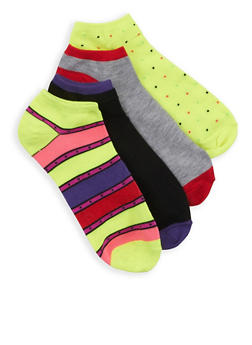 Assorted 4 Pack of Ankle Socks - MULTI COLOR - 3143041454018