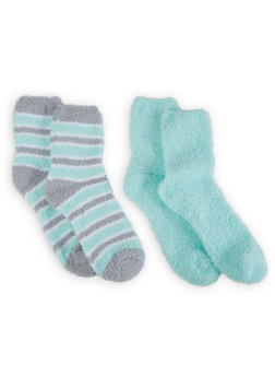 Set of Striped and Solid Plush Socks - 3143068060903
