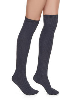 Over the Knee Textured Rib Knit Socks - CHARCOAL - 3148041450106