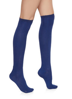 Over the Knee Textured Rib Knit Socks - NAVY - 3148041450106