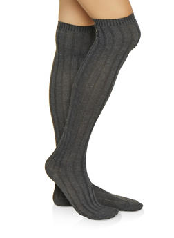 Ribbed Knit Over the Knee Socks - CHARCOAL - 3148041450109