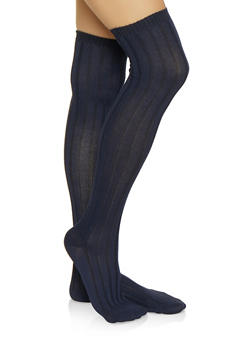 Ribbed Knit Over the Knee Socks - NAVY - 3148041450109