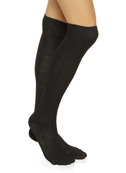 Over the Knee Cable Knit Socks - 3148041451102