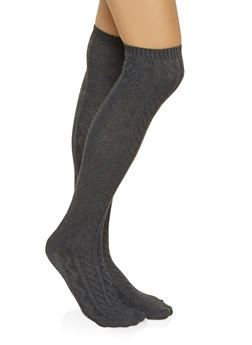 Over the Knee Cable Knit Socks - CHARCOAL - 3148041451102