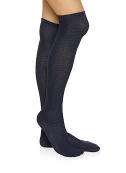 Chevron Over the Knee Socks - NAVY - 3148041451104
