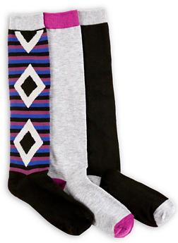 Pack of 3 Solid and Printed Knee High Socks - 3148041451801
