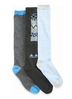 Set of 3 Solid and Printed Knee High Socks - BLUE - 3148041451802