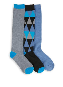 Set of 3 Solid and Printed Knee High Socks - BLUE - 3148041451803