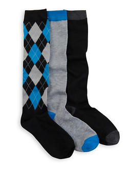Pack of 3 Solid and Printed Knee High Socks - BLUE - 3148041451804