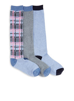 Set of 3 Solid and Printed Knee High Socks - BLUE - 3148041451808